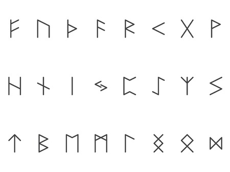 germanic people: Set of ancient Old Norse runes (Elder Futhark), vector. 24 germanic letters