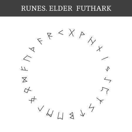 Conjunto de antiguas runas nórdicas antiguas (Elder Futhark), vector. 24 letras germánicas Ilustración de vector