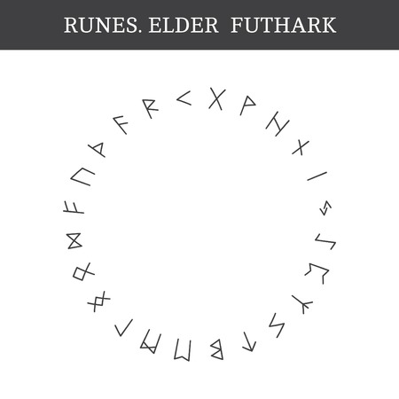 futhark: Set of ancient Old Norse runes (Elder Futhark), vector. 24 germanic letters