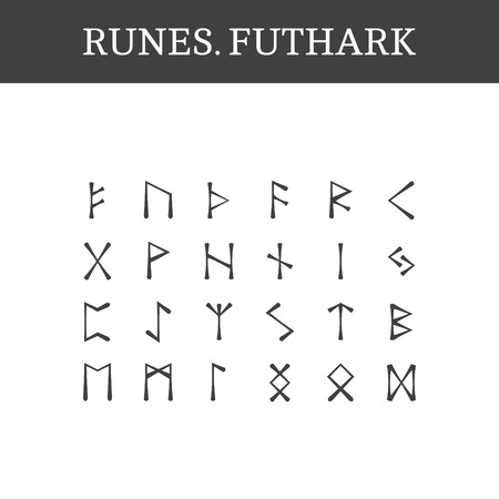 germanic people: Set of ancient Old Norse runes (Futhark), vector. 24 germanic letters