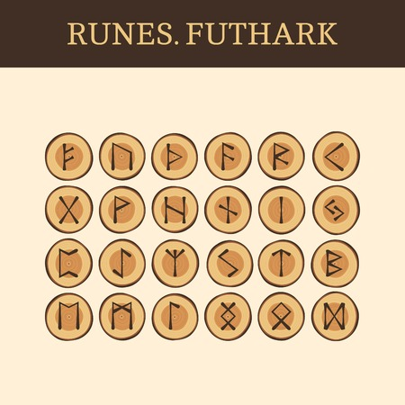 futhark: Set of ancient Old Norse wooden runes (Futhark), vector. 24 germanic letters