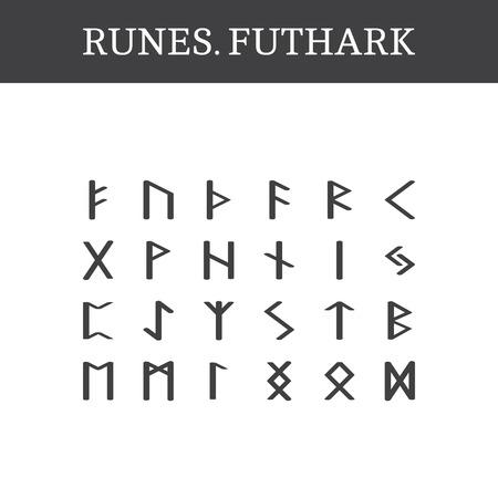 고 대 오래 된 노르웨이 룬 문자 집합 (Futhark), 벡터. 24 개의 독일 문자 스톡 콘텐츠 - 43984969
