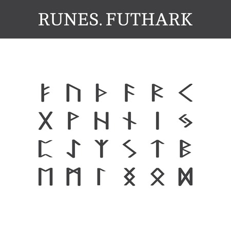 runes: Set of ancient Old Norse runes (Futhark), vector. 24 germanic letters