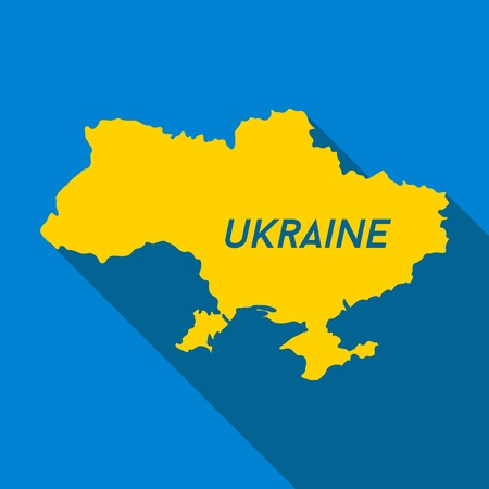 state boundary: Map of Ukraine, colors of national flag, vector icon