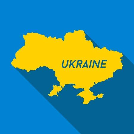 kelet európa: Térkép Ukrajna, színei nemzeti zászló, vektor ikon Illusztráció