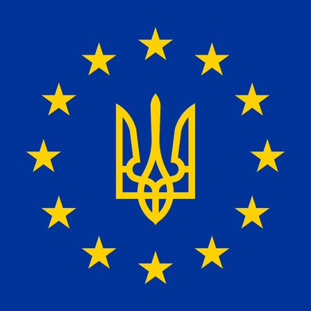 blazonry: Flag of Europe (flag of European Union) with coat of arms of Ukraine inside, vector Illustration