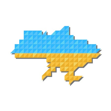 state boundary: Map of Ukraine with national flag inside, vector Illustration