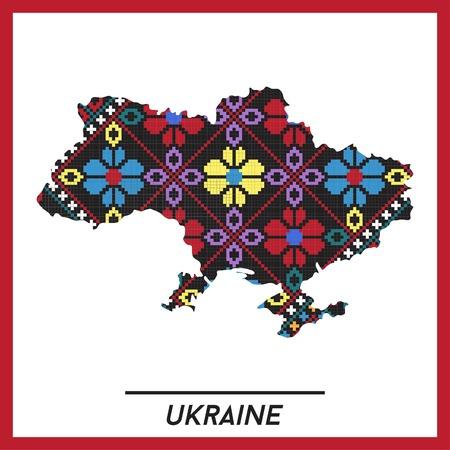 slavonic: Map of Ukraine with ethnic Ukrainian pattern inside, vector Illustration