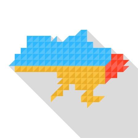 occupant: Map of Ukraine with national flag inside, vector. Russo-Ukrainian war