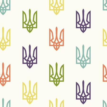 armorial: Seamless pattern, State Emblem of Ukraine, vector illustration
