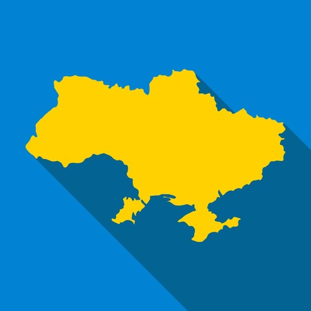 state boundary: Map of Ukraine, colorf of national flag, vector icon
