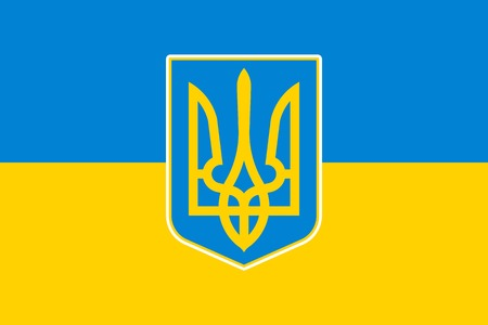 blazonry: National flag and state ensign (state flag) of Ukraine, vector