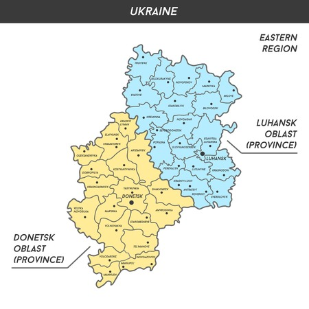 luhansk: Map of Donetsk and Luhansk oblast (Donbas) with major cities, vector