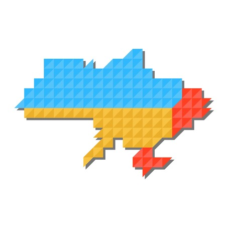 state boundary: Map of Ukraine with national flag inside, vector. Russo-Ukrainian war