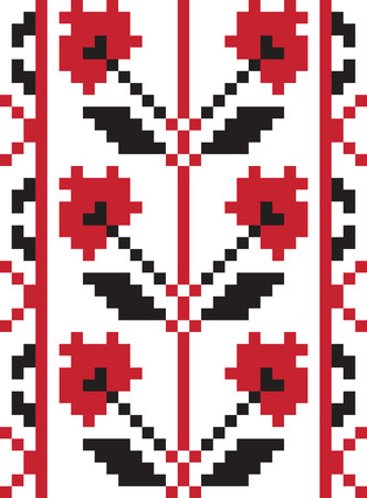 slavic: Vector illustration of ethnic ukrainian seamless  pattern. Slavic national ornament, pixel style Illustration