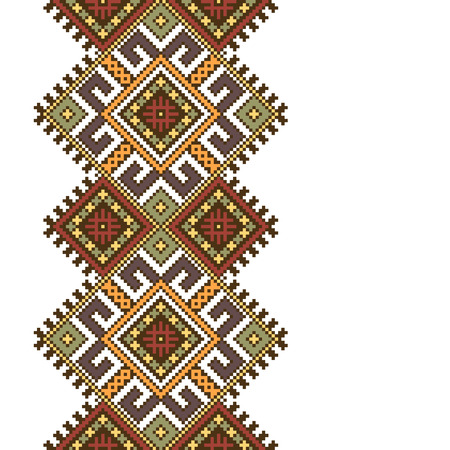 slavic: Vector illustration of ethnic ukrainian seamless  pattern. Slavic national ornament, pixel style Vettoriali