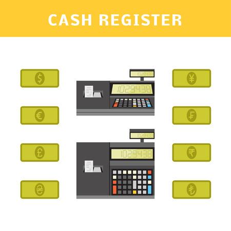 rupee: Cartoon vector illustration of a cash register.