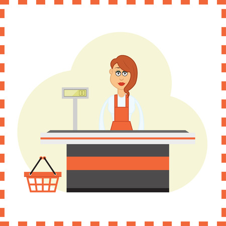 Smiling vector cartoon girl at the cash register in supermarket.