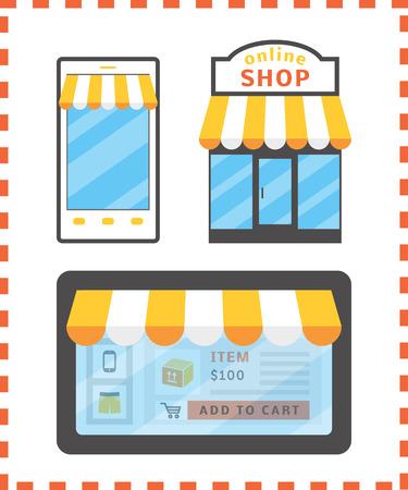 shoppers: Online shopping concept.  Illustration