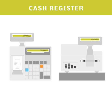 Cartoon Vektor-Illustration von einer Registrierkasse.