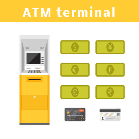 rupee: ATM machine concept with types of currencies and plastic card.