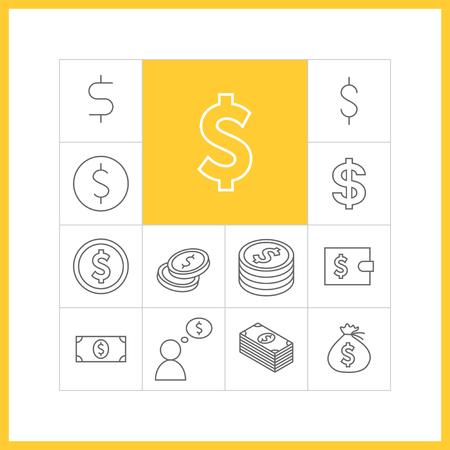 dollaro: Set di icone semplici dollari in stile trendy lineare. Collezione di oggetti vettoriali finanza