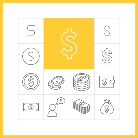dollar bag: Set of simple dollar icons in trendy linear style.  Collection of finance vector items