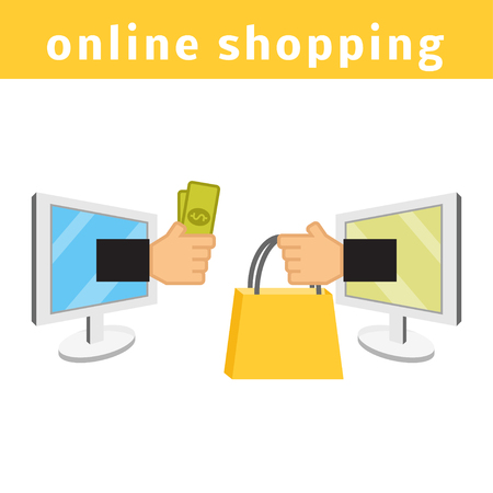 electronic store: Online shopping concept. E-commerce flat vector illustration. Buy online cartoon picture. Two computers with hands holding money and shopping bag. Illustration