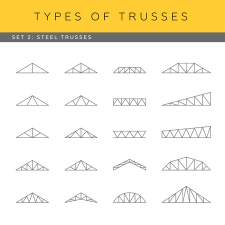 rafter: Set of vector architectural blueprints. Types of trusses. Collection of steel trusses.