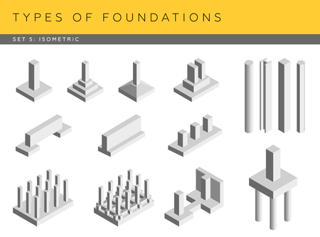 footing: Types of foundations. Set of vector architectural blueprints. Isometric view