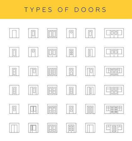 door swings: Types of doors, vector. Collection of different door icons in thin linear style.