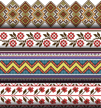 Set of ethnic caucasian backgrounds. Vector illustration of authentic ukrainian seamless  patterns. Slavic national ornament, pixel style.