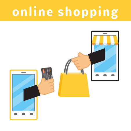 smart card: Online shopping concept. E-commerce flat vector illustration. Buy online cartoon picture. Two smartphones with hands holding credit card and shopping bag. Illustration