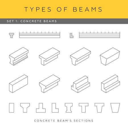 girders: Set of vector architectural blueprints. Types of beams. Collection of concrete girders. Beam sections and isometric items. Illustration