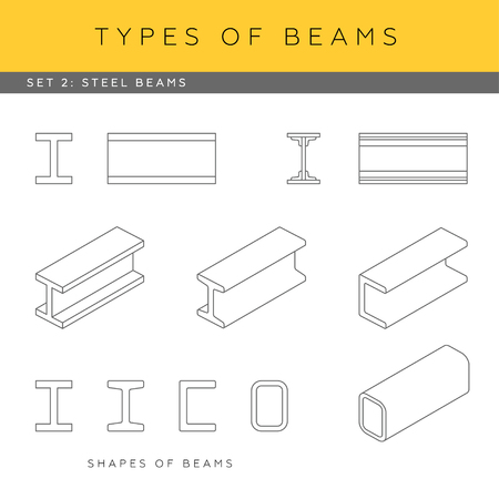girders: Set of vector architectural blueprints. Types of beams. Collection of steel girders. Beam shapes and isometric items.