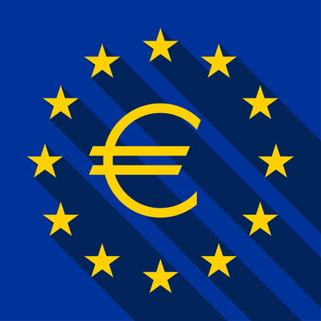 euro sign: Flag of Europe flag of European Union with Euro sign, vector