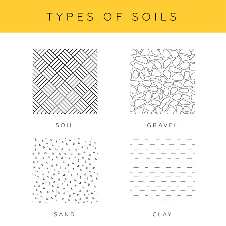soils: Types of soils, vector set. Collection of sand, gravel and clay seamless textures for architectural drawings