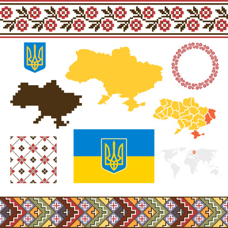 caucasian: Ukrainian set. Maps of Ukraine, Flag, coat of arms. National ukrainian patterns. Caucasian ethnic backgrounds. Illustration