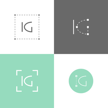 architector: Vector monogram of K and G letters. Template for logo of an architector or other occupation Illustration