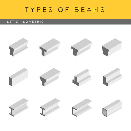 concrete: Tipos de vigas de hormigón y acero. Conjunto de vector de planos arquitectónicos. Vista isométrica