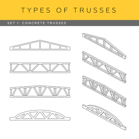 front view: Set of vector architectural blueprints. Types of trusses. Collection of concrete trusses. Front view and isometric items.