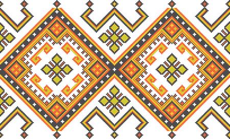 caucasian: Ukrainian ethnic background. Caucasian seamless vector pattern. Stock Photo
