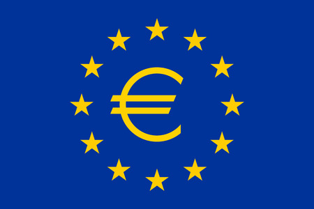 euro sign: Flag of Europe (flag of European Union) with Euro sign, vector