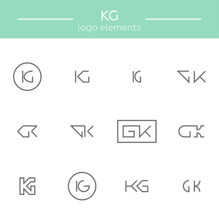 architector: Vector monogram of K and G letters. Template for logo of an architector or other occupation Stock Photo
