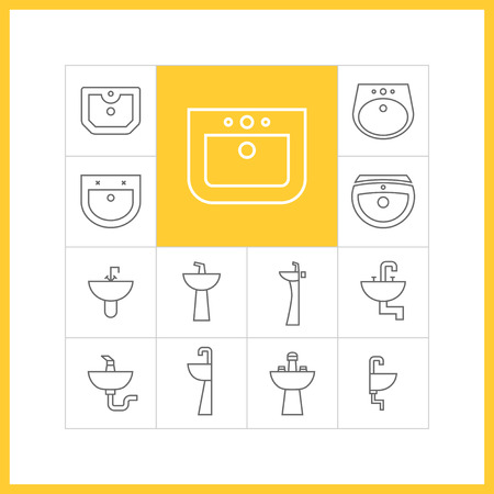 washstand: Set of web simple thin linear sink icons. Vector illustration of wash stand in trendy linear style