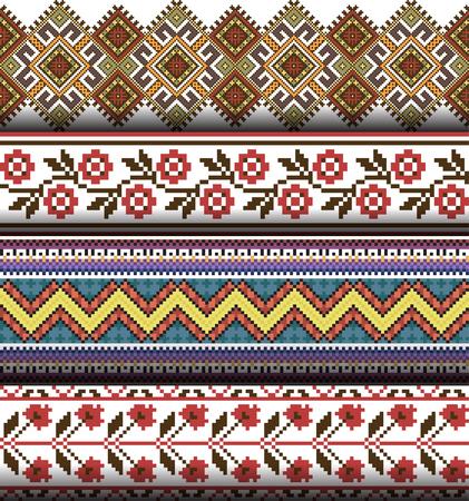 Set of ethnic caucasian backgrounds. Vector illustration of authentic ukrainian seamless  patterns. Slavic national ornament, pixel style.