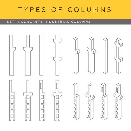 concrete structure: Set of concrete industrial columns. Vector architectural blueprints. Front view and isometric icons