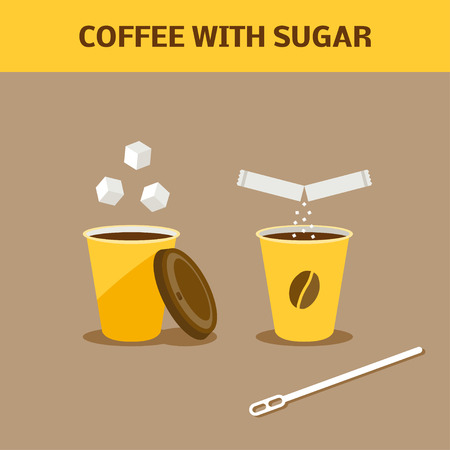 paper cup: Paper cup of coffee with sugar. Cartoon vector illustration. Stock Photo