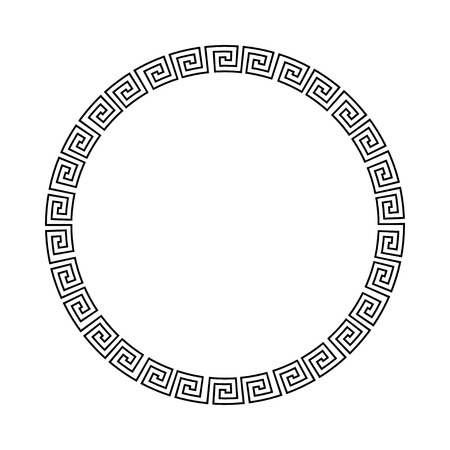 Circle ornament meander. Round frame, rosette of ancient elements. Greek national antique round pattern. Rectangular pulse