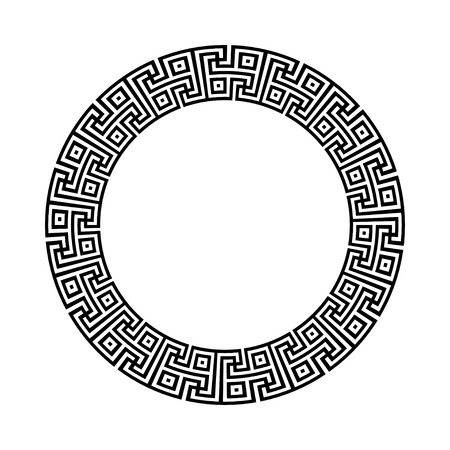 antiquities: Circle ornament meander. Round frame, rosette of ancient elements. Greek national antique round pattern. Gammadion cross pattern